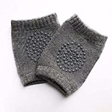 Baby Crawling Anti-Slip Knee Pads by House of Quirk 1 Pairs Baby Toddlers Kneepads - Dark Grey