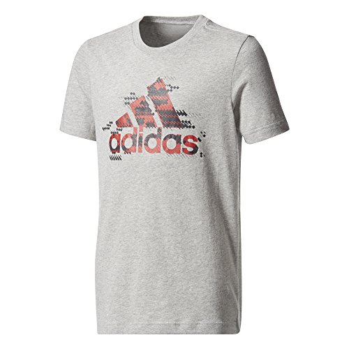 adidas Jungen Bos T-Shirt, Medium Grey Heather, 140 (Adidas Logo-t-shirt Grey)