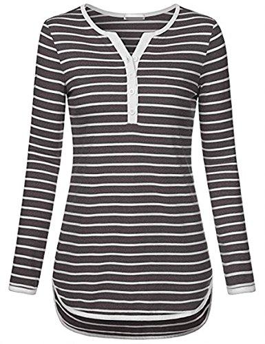 Jusfitsu Damen Streifen Langarmshirt V-Ausschnitt Tunika Basic Casual T-Shirt Obertail Grau L (Damen-streifen-t-shirt)