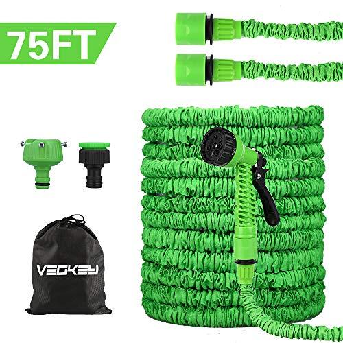 VEGKEY Tuyau d'arrosage, 75 Feet 22.5m Tuyau d'arrosage Extensible, Tuyau d'arrosage Rétractable Vert avec 8 Fonction Pistolet pour Irrigation et Nettoyage