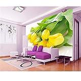 YzybzBenutzerdefinierte Tapete Fototapeten Gelbe Tulpe Gelbe Blume Tv Wohnzimmer Luxus Schlafzimmer Tapete-480 * 290cm