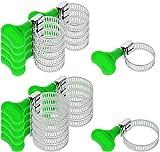 com-four 20-teiliges Set Schlauchschellen, Schlauchklemmen in verschiedenen Größen, Spannbreite 14-35 mm, Bandbreite 8 mm (20-teilig - Mit grünem Schlüssel)