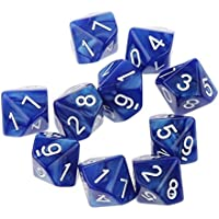 10pcs Juegos de Mesa Dados de Diez Caras 0~9 D & D TRPG - Azul