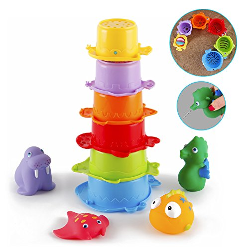 Badespielzeug Baby,Badewannen Spielzeug Wasserspielzeug Set mit verschiedenen Badetiere Spielzeug,Gutedeal 10 Stk.BPA Frei Stapelbecher Spielzeug für Baby und Kleinkinder