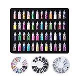 biutee Nail Art Biberon 48diversi Nail Art Perle N/Lustrini/Glitter Polvere/Acrilico/Strass con 3ruote Nail Art Strass per DIY UV Gel