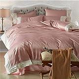BB.er Washed Seide europäischen und amerikanischen einfachen Stil Bettwäsche-Sets aus 100% Baumwolle Tencel glatte Haut atmungsaktive Heimtextilien Bettwäsche Sammlung, Pink, 220X240cm