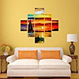 #2: DeStudio Boat Painting Wall Painting Stickers (Wall Covering Area : 95cm X 86cm )-13506
