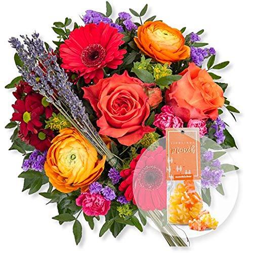 Blumenstrauß Farbenfreude und Fruchtgummi Lieblingsmensch