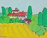 Paesaggio Toscano-Dipinto su cartoncino telato eseguito con tecnica ad acrilico,dimensioni cm 30x24x0,3 cm.Pronto per essere attaccato alla parete.Made in Italy,Lucca,Toscana,certificato.
