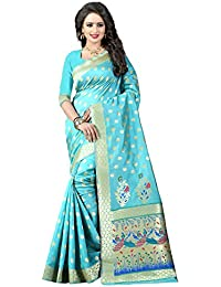 Women's Tassar Silk Traditional Saree Unstitched Blouse Design (Paithani 1 Sky Blue_Sky Blue)