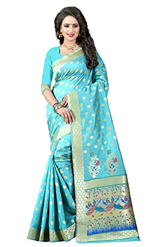 Shree Sanskruti Tassar Silk Saree With Blouse Piece(Paithani 1 Sky Blue_Blue_Free Size)