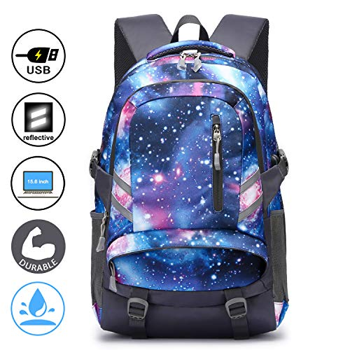 E-zoned zaino scuola superiore per pc 15.6 pollici da donna e uomo, backpack portabile casual rucksack per laptop universita viaggio con presa ricarica usb (galassia)