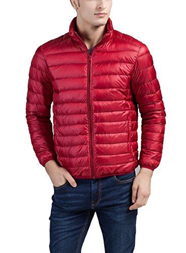 Panegy Herren Daunenjacke Steppjacke Jacke Übergangsjacke mit Stehkragen Rot