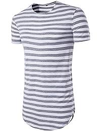 Amlaiworld Summer Slim Fit Striped Print T-Shirt Top, Modern and Cool Short Sleeve T-Shirt Polyester