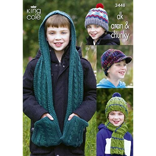 Knitting Patterns - King Cole 3099 Scarf & Gloves