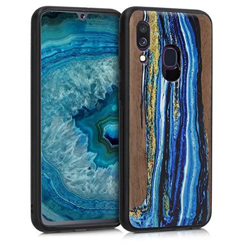 kwmobile Holz Schutzhülle für Samsung Galaxy A40 - Hardcase Hülle mit TPU Bumper Walnussholz in Holz Farbbrush Design Blau Braun - Handy Case Cover