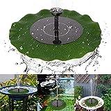 Yinuoday Fontaine Solaire pour Bain d'oiseaux Décoration de Jardin avec Feuille de Lotus et 4 têtes de pulvérisation Différentes