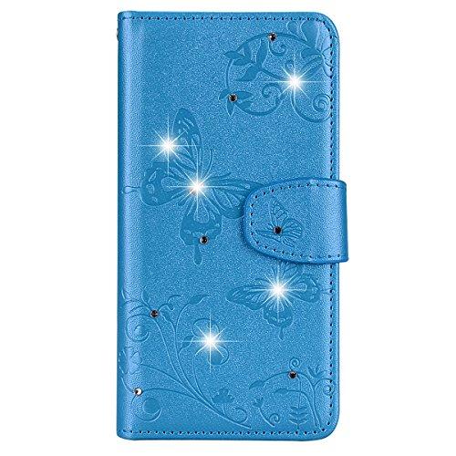 Shinyzone iPod Touch 5/6 Funkeln Diamant Hülle Eingebaut Bilden Spiegel Hülle mit Magnetverschluss,Schmetterling Muster Flip Leder Brieftasche Handyhülle mit Kredit Kartenhalter für iPod Touch - Blau 5 Ipod Fällen Funkeln