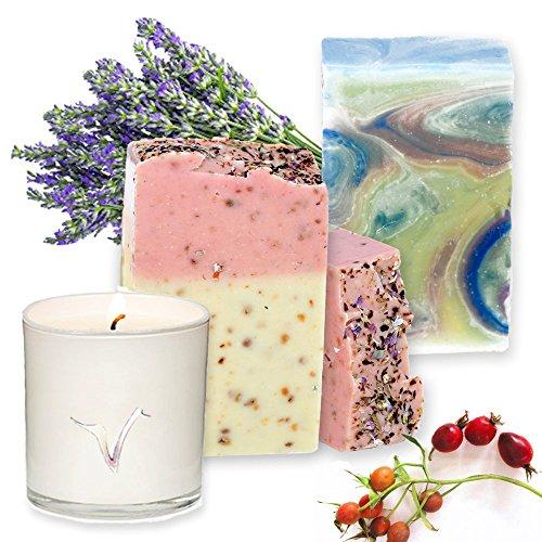 Artisan Natürliche Seife-Soja Wachs Aroma Kerze Geschenk-Set. - Gesicht Milch Esel