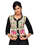 Banjara Women's Cotton Blend Kutchi Jacket/Koti (MJK-CIRCUS02) - White