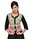 Banjara Women's Cotton Blend Kutchi Jacket/Koti (MJK-CIRCUS02) - White