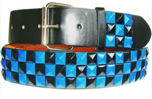 Fashion bazar Herren Gürtel Gr. X-Large, Black Belt with 3 Row Black & Blue Studs Row Studded Belt