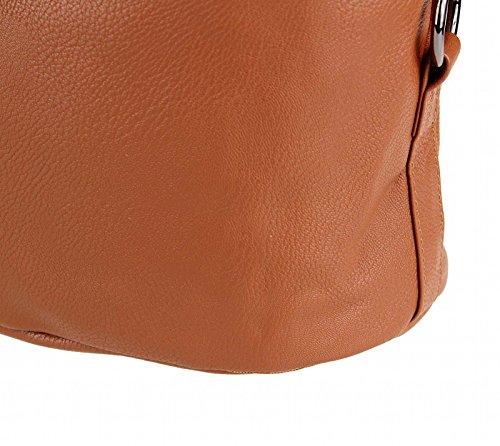 Damentasche Stockholm Handtasche Schultertasche Umhängetasche (Grau-Metallic) Cognac