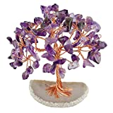 mookaitedecor Tumbled Stones Money Tree,Gemstone Feng Shui Ornaments Healing Crystal Tree Figurines,Agate Slice Geode Quartz Stand