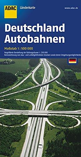 Deutschland Autobahnen: vergrößerte Darstellung der Ballungsräume 1:50000. Kennzeichnung von stau- und unfallgefährdeten Strecken sowie deren Umfahrungsmöglichkeiten (ADAC-LänderKarte)