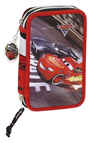 Cars 3 Plumier Doble pequeño 28 Piezas, Color Rojo/Negro, 20 cm (SAFTA 411709854)