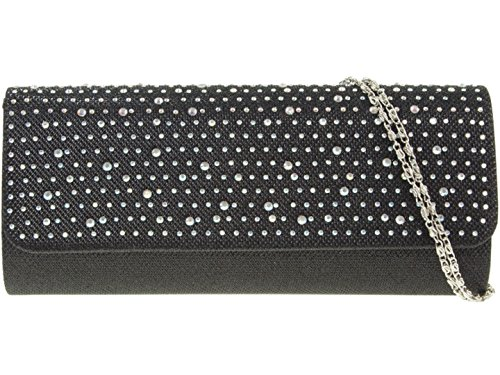 Girly HandBags Satin Gewebt Clutch Tasche Diamanten Schwarz