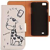 Lankashi PU Flip Funda De Carcasa Cuero Case Cover Piel Para ZOPO C2 ZP980 ZP980+ Giraffe Design