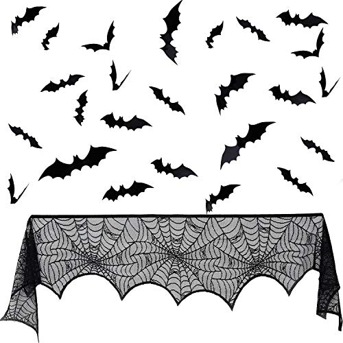 Tatuo Halloween Spitze Spinnennetz schwarz Kamin Mantel Schal Cover und 60 Stück 3D Unheimlich Fledermäuse Wandtattoos für Halloween Motto Party Versorgung