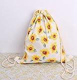 Rieovo, zaino in cotone e lino stampato con coulisse, per donne e bambini, sacca per educazione fisica, borsa da viaggio, borsa da spiaggia, 33x 40cm, donna, sunflower