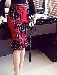 mayihang vestido falda rodilla faldas cotidiana de las mujeres, Casual Trompeta/sirena poliéster geométrico