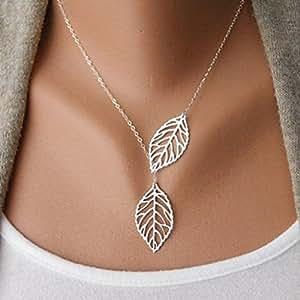 Familizo Halskette mit 2-fachem Blatt-Anhänger, für Damen und Mädchen, Metalllegierung, Legierung, silber, Free Size