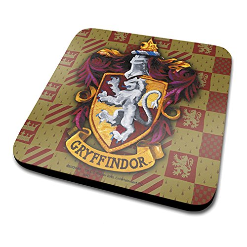Harry-Potter-Gryffindor-Crest-Official-Drinks-Coaster-Protective-Melamine-Cover-with-Cork-Base-Multi-Colour-10-x-10-cm