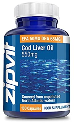 Cod Liver Oil 550mg, Pack of 180 Softgels, by Zipvit Vitamins Minerals & Supplements EPA 50mg DHA 65mg from Zipvit
