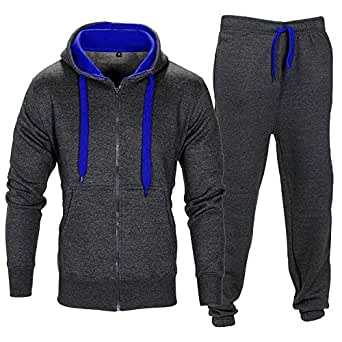 BE JEALOUS Herren Essentials Contrast Trainingsanzug Fleece Kapuzenpullis Jogginghose Jogginghose Gym Satz (S, Dunkelgrau / Blau)