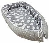 Babymajawelt® multifunktionales Babynest Bettverkleinerung (80 x 52 cm) Baby - Reisebett Nestchen für Neugeborene (GRAU -Wolken)