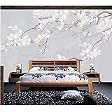 Pbbzl Papier Peint Personnalisé 3D Mural Peint À La Main Simple Magnolia Chinois Traditionnel Chinois Peinture De Fond Papier Peint Murale-150X120Cm