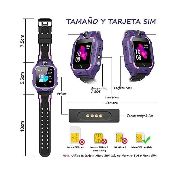 BANLVS Smartwatch Niños, 2019 Nuevo Reloj Inteligente Niños con Flashlight, IP67 LBS SOS, Cámara, Smartwatch con Ranura… 2