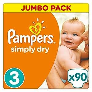 Pampers Simply Dry Windeln, Größe 3 (Midi) 4-9 kg, Jumbo Pack, 2er Pack (2 x 90 Stück)