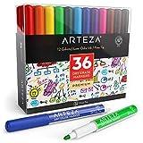 Pack 36 feutres tableau blanc effaçables ARTEZA | 12 couleurs assorties | Marqueur tableau blanc à pointe fine | Encre à faible odeur | Pour école, bureau, maison, salles de conférences
