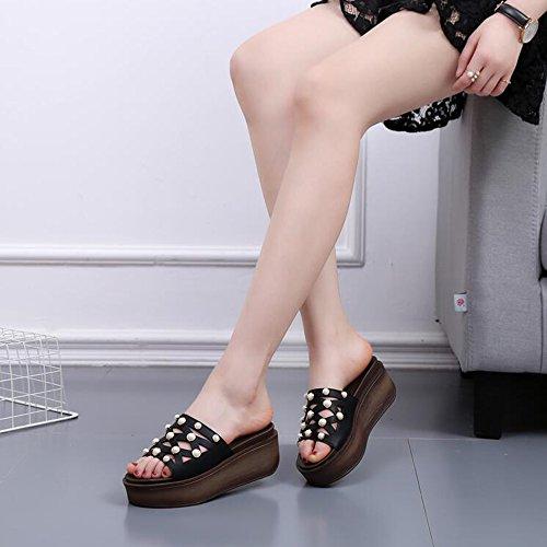Damen Sandalen Sommer Komfort PU Casual Keil Ferse Split Joint Walking Schwarz