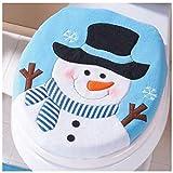 LHWY Schöne Weihnachten Schneemann WC Schüssel dekoriert Flanell Blau für Badezimmer (35.5cmX43cm/13.97X16.92', Blau)
