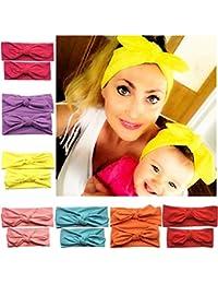 Freefisher Arco Diademas Accesorios para el Pelo Venda Ancha color puro estilo coreano para Bebé y Madre Contenido del paquete: 7 x diadema(Entrega Al Azar Del Color)
