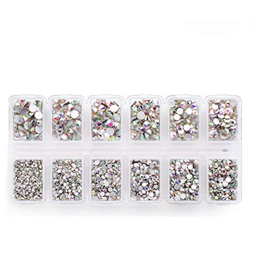 Zealer Flatback Strasssteine Runde Kristall Flache Rücken Edelsteine, 6 Mix Größen, 4200 Stück