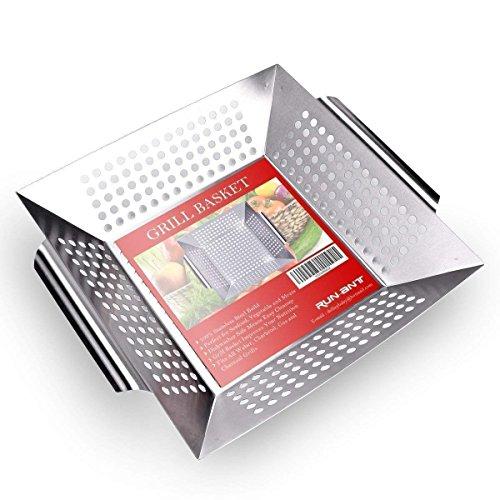 Grill Korb aus Edelstahl, Run Ant gemüseschale mit griffen gemüse Grill Pfanne Grillkorb Großer Rost Korb für Rösten von Gemüse, Fleisch, Fisch, Garnelen, Obst, 34 x 29,5 x 6,3 cm