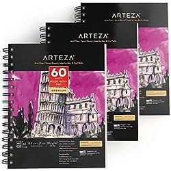 ARTEZA Bloc de dibujo para bocetos con medios mixtos A5 | 14,8 x 21 cm | 60 hojas | 180 gsm | Libreta de dibujo artistico ideal para medios húmedos y secos, bocetos, dibujo y más